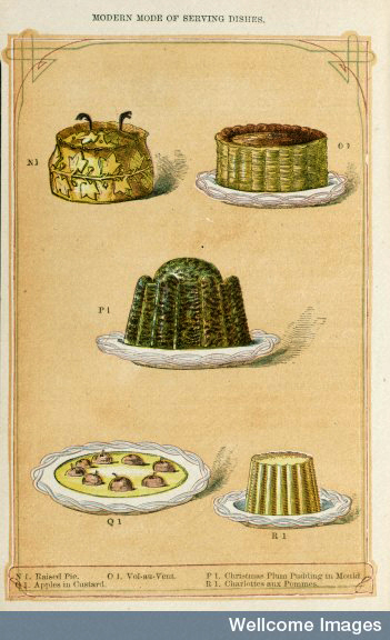 L0045069 The book of household management by Mrs Beeton Credit: Wellcome Library, London. Wellcome Images images@wellcome.ac.uk http://wellcomeimages.org The book of household management. A selection of puddings: N1) Raised Pie O1) Vol-au-vent P1) Christmas Plum Pudding in Mould Q1)Apples in Custard R1)Charlottes aux Pommes 1861 The book of household management : Beeton Published: 1861 Copyrighted work available under Creative Commons Attribution only licence CC BY 4.0 http://creativecommons.org/licenses/by/4.0/
